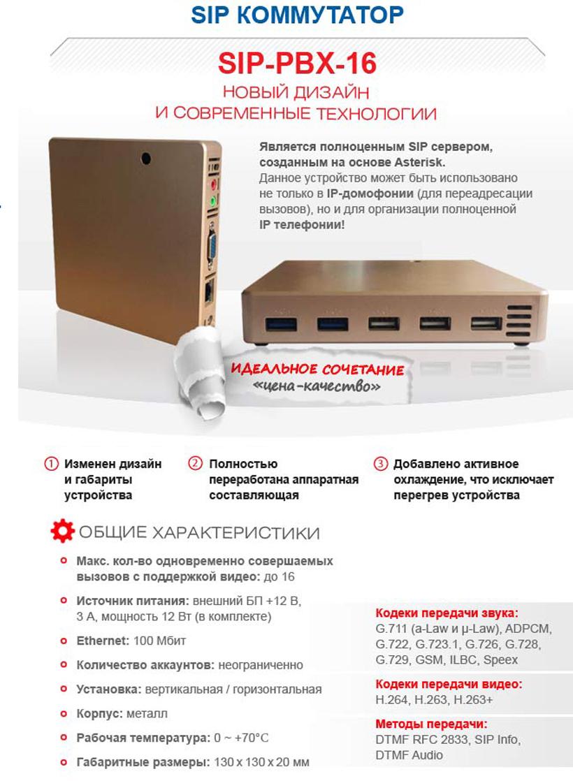 SIP коммутатор PBX-16
