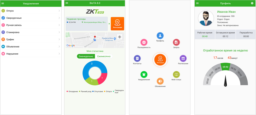 Приложение ZKTeco BioTA: учет рабочего времени и контроль самоизоляции